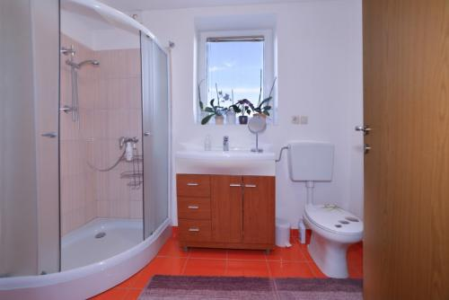 Studio with Terrace - Bathroom with shower and towels for all persons and a space with a wardrobe and a washer-dryer